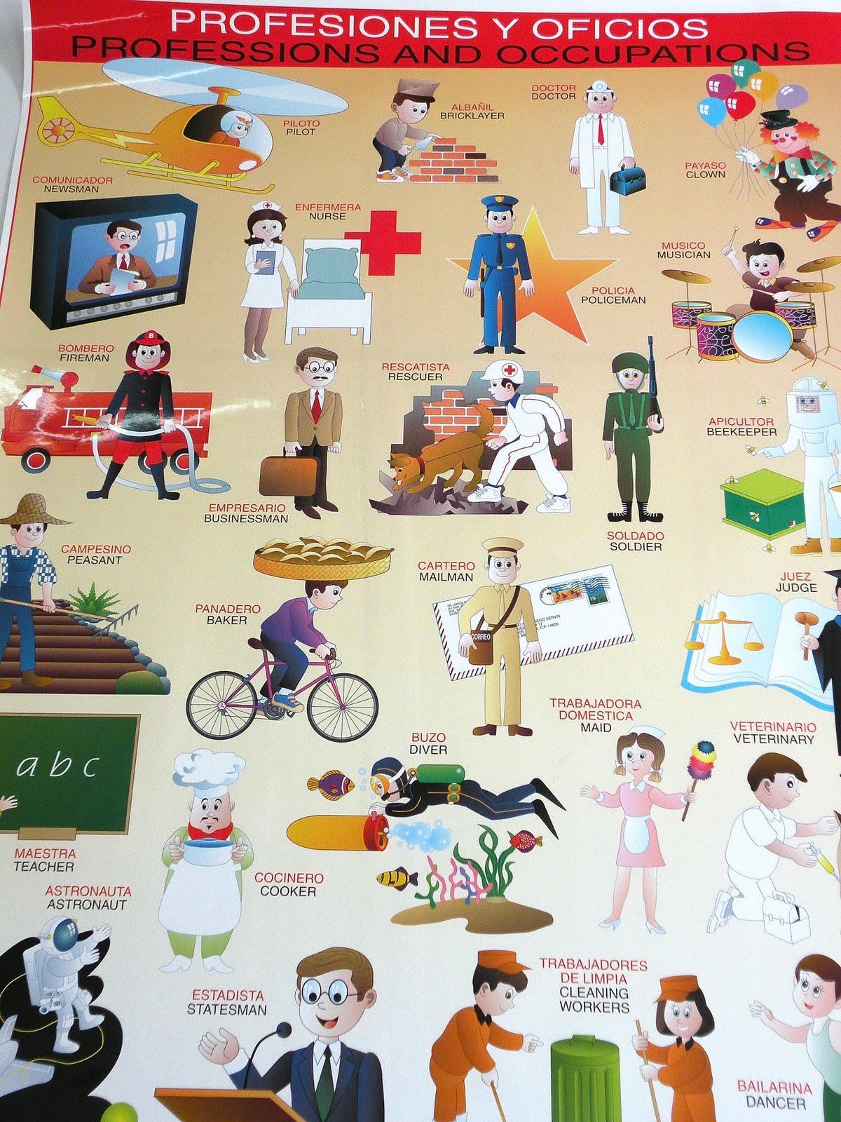 10 profesiones en inglés y español - Imagui